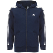 adidas Men's Essential 3 Stripe Fleece Hoody - Navy