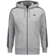 adidas Mens Essential 3 Stripe Fleece Hoody  Grey  S