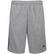 adidas Men's Essential 3 Stripe Fleece Jog Shorts - Grey