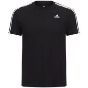 adidas Men's Essential 3 Stripe T-Shirt - Black