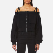 House of Sunny Women's Cold Shoulder Cropped Bomber Jacket - Jet