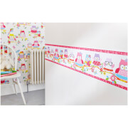 Superfresco Easy Kids' Olive The Owl Pink Multi Wall Border