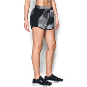 Under Armour Women's Fly By Printed Run Shorts - Black/Rhino Grey