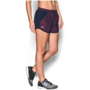 Under Armour Women's Fly By Printed Run Shorts - Midnight Navy/Pomegranate