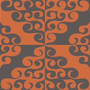 Kelly Hoppen Geometric Twist Flock Chocolate/Orange Wallpaper
