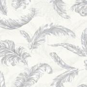 Julien MacDonald Glitter Gilded Feather White/Silver Wallpaper