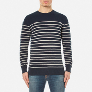 Barbour Men's Current Stripe Crew Neck Knitted Jumper - Navy