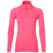 Asics Women's 1/4 Zip Long Sleeve Run Top - Diva Pink Heather