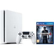 Sony Playstation 4 Slim 500GB Glacier White Console with Uncharted 4