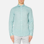 Michael Kors Men's Slim Yarn Dye Linen Solid Long Sleeve Shirt - Lagoon