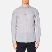 Michael Kors Men's Slim Yarn Dye Linen Solid Long Sleeve Shirt - Storm