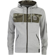 Crosshatch Herren Camden Camo Panel Zip Through Hoody - Grey Marl