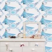 Disney Frozen Elsa Snow Queen Snowflake Blue White Wallpaper