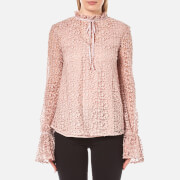 Perseverance Women's 3D Floral Lace Tie Detail Top - Dusty Pink - UK 10 - Pink