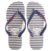 Havaianas Men's Top Nautical Flip Flops - White/Navy Blue