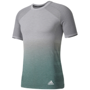 adidas Men's Primeknit Wool Dip-Dye Running T-Shirt - Grey Heather