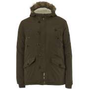 Brave Soul Men's Noel Fur Trim Parka Jacket - Khaki