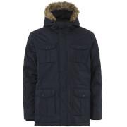 Brave Soul Men's Canadian Fur Trim Parka Jacket - Navy