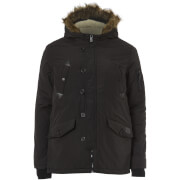 Brave Soul Men's Noel Fur Trim Parka Jacket - Black