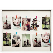 Washing Line 12 Peg Photo Frame - White