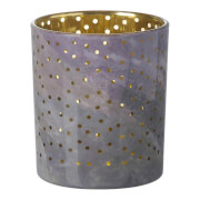 Parlane Stormy Glass Tealight Holder - Grey/Gold (10cm)