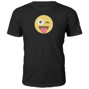 Emoji Unisex Winky Tongue Out T-Shirt - Schwarz