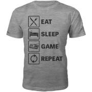 Eat Sleep Game Repeat Slogan T-Shirt - Grey
