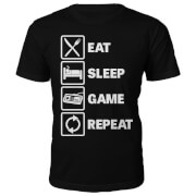 Eat Sleep Game Repeat Slogan T-Shirt - Black