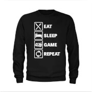 Eat Sleep Game Repeat Slogan Sweatshirt - Schwarz