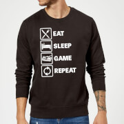 Eat Sleep Game Repeat Slogan Sweatshirt - Black