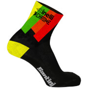 Santini Cinelli Chrome 17 Coolmax Socks - Black/Yellow