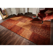 Flair Manhattan Patchwork Rug - Chenille Terracotta