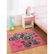 Tapis Flair Kiddy Play Rugs - Papillons Rose (90X90)