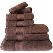 Restmor 100% ägyptische Baumwolle 7-Teil Supreme Badetuch-Set - Chocolate