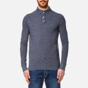 Superdry Men's Classic Long Sleeve Pique Polo Shirt - Dark Indigo Grindle Slub