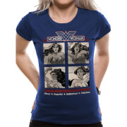 DC Comics Women's Wonder Woman Retro Squares T-Shirt - Navy