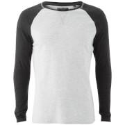T-Shirt Osbourne Manches Longues Homme Raglan Brave Soul - Écru/ Gris Charbon