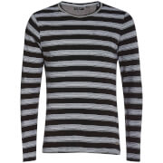 Brave Soul Men's Slate Stripe Long Sleeve Top - Black