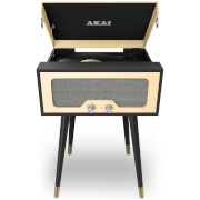 Akai Retro Floor Stand Turntable with Built-In Stereo Speakers - Black