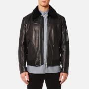 HUGO Men's Lannson Leather Jacket - Black - L - Black