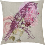 Floral Bird Cushion - Pink (45 x 45cm)