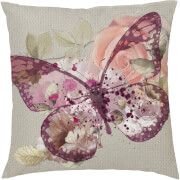Floral Butterfly Cushion - Pink (45 x 45cm)