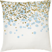 Confetti Print Cushion - Gold and Blue