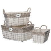 Fifty Five South Lida Rectangular Storage Baskets - Willow/Wire (Set of 3)