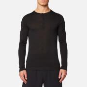 FALKE Ergonomic Sport System Men's Long Sleeved Henley Silk-Wool Top - Anthracite Mel - S - Black