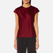 Helmut Lang Women's Cap Sleeve Fluid Top - Ruby - M - Red