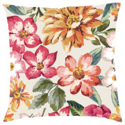 Tropical Floral Cushion - Cream