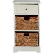 Vermont One Drawer Cabinet with Water Hyacinth Baskets - Ivory