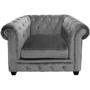 Regents Park Chesterfield Chair - Grey Cotton Velvet