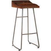 New Foundry Bar Stool - Brown Leather Effect